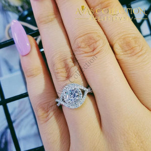 Solid 925 Sterling Silver Round Luxury Engagement Ring Rings