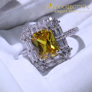Stunning Luxury Princess Cut Yellow &white Ring For Women Wedding Bands