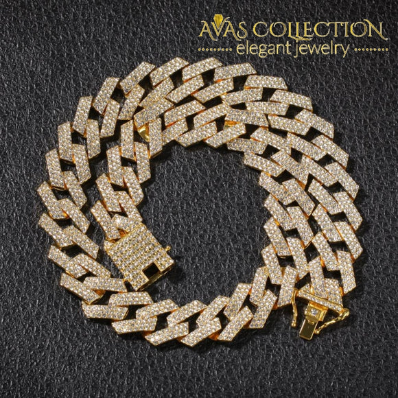 20Mm Prong Cuban Link Chains Necklace 3 Row Iced Out Necklaces For Men Chain
