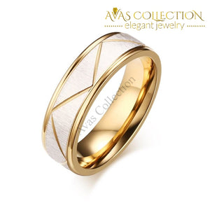 Personalized Engrave Name/Wedding Rings for Love Matte Finish Stainless Steel 18k Gold Finished - Avas Collection