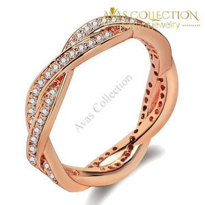 2 colors Cross Twist Eternity Band - Avas Collection