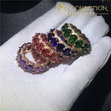 4 Colors Statement Ring Rose Gold Filled Band Rings