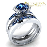 6 Colors Birthstones Ring Set Silver Color Crystal / All Blue Engagement Rings