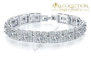 Princess Cut- White Gold Filled/ Avas Collection Bracelet Chain & Link Bracelets