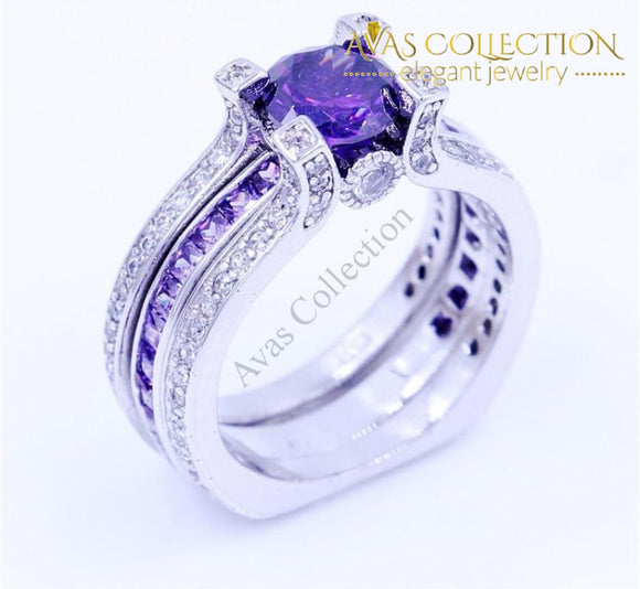 Purple Birthstone Interchangeable Ring Engagement Rings
