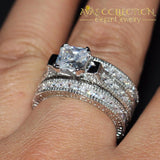 Vintage 14KT White Gold Filled Princess Cut  3 In 1 Wedding Set - Avas Collection
