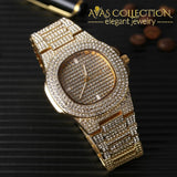 14K Yellow Gold Filled Mens Iced Out Hip Hop Watch & Necklace Bracelet Earrings Set Quartz Watches