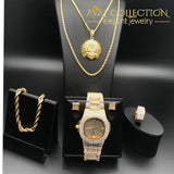 14K Yellow Gold Filled Mens Iced Out Hip Hop Watch & Necklace Bracelet Earrings Set Set Quartz