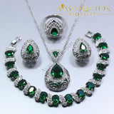 Water Drop 4PCS Jewelry Set 925 Sterling Silver Simulated Emerald - Avas Collection