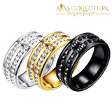 Stainless Steel Double Rows Mens Band/ Black/Silver/ Gold - Avas Collection