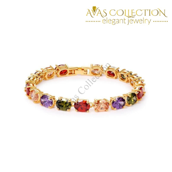 Oval Crystal Colorful Bracelet / Avas Collection Bracelet Strand Bracelets