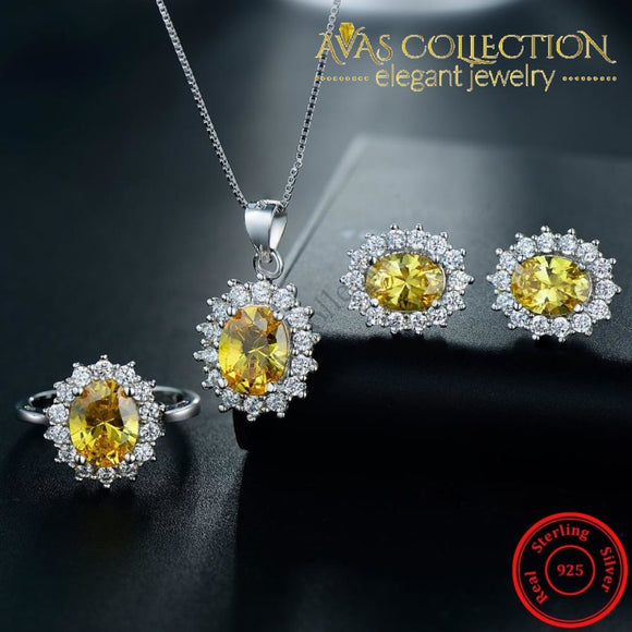 Solid 925 Silver Filled Gold Stone Set Jewelry Sets