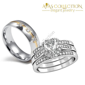 10Kt White Gold Filled Couples Set Rings