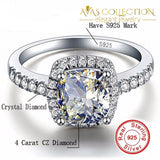 4 Carat Sterling Silver 925 Luxury Engagement Ring - Avas Collection