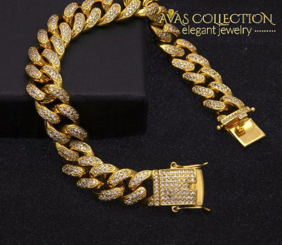 14Mm Iced Out Cuban Link Bracelet Chain & Bracelets