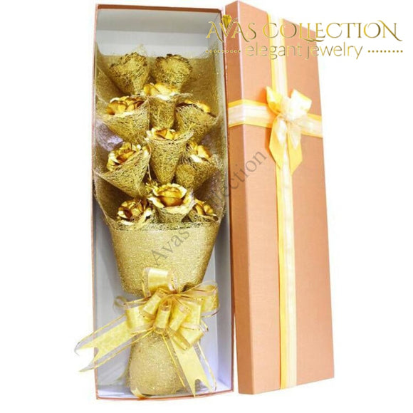 24K Gold Rose Flower Bouquet In Gift Box Artificial & Dried Flowers
