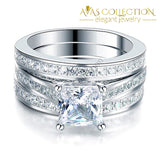 1.5 Ct Princess Cut Solid 925 Sterling Silver 3-Pcs Set - Avas Collection