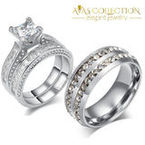 His & Hers Rings 10k White Gold Filled/ Stainless Steel Princess Cut - Avas Collection