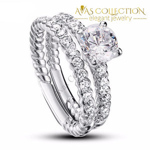 1 Carat Round Cut 2-Pcs Engagement Ring Set Rings