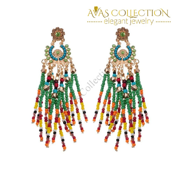 Multicolor Resin Seed Bead Dangle Earrings Stud
