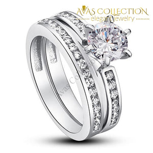 1 Ct Round Solid 925 Sterling Silver 2-Pcs Wedding Set/ High Polished - Avas Collection