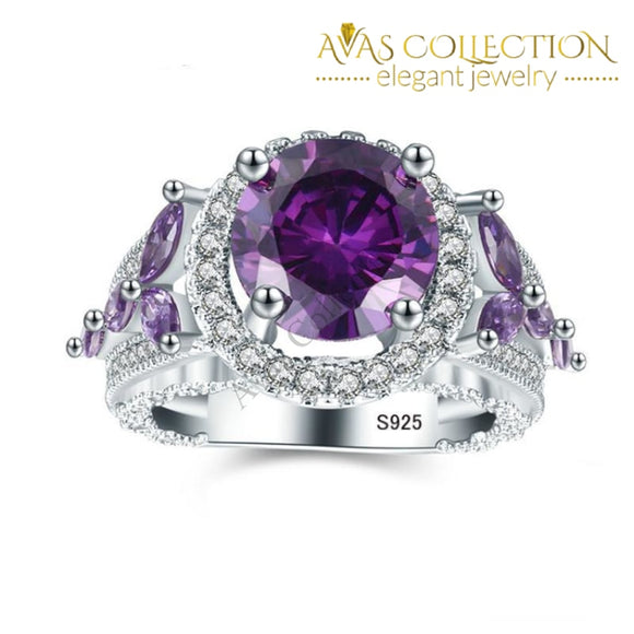 18k White Gold Filled Rings Purple Stone Luxury  Ring - Avas Collection