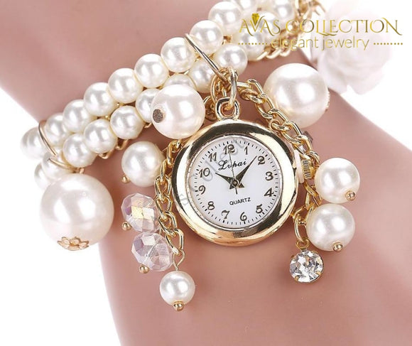 Rose Flower Design Pearl Wrist Watch Womens Watches