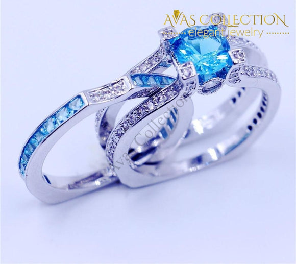 Sky Blue Bridal Set Rings