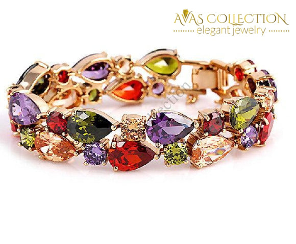 18Kt Rose Gold Filled Multi Stones / Avas Collection Bracelet Strand Bracelets