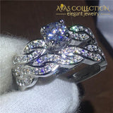 Cross Ring Set White Gold Filled Engagement Rings