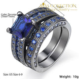 Couples Wedding Ring  Set/ Blue - Avas Collection