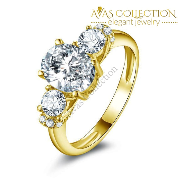 2 Ct Oval Cut 3 Stone Bridal Wedding Ring- 10Kt Yellow Gold Rings