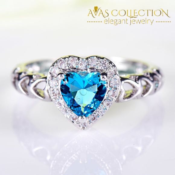 Blue Heart Ring Rings