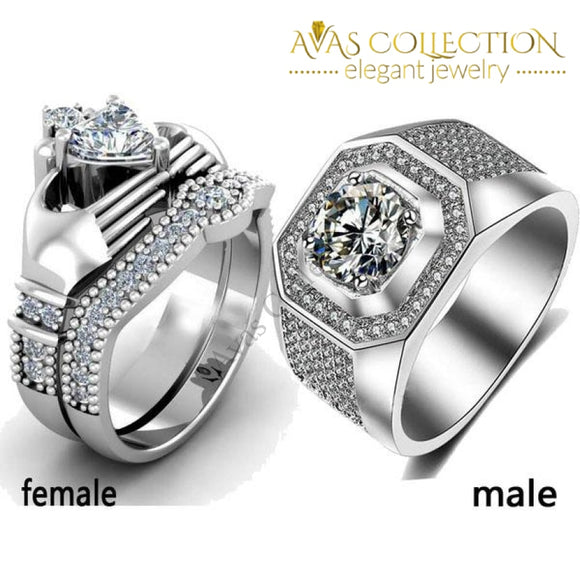 His & Hers 10KT White Gold Filled - Avas Collection