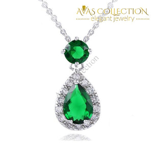 Created Emerald Water Drop 925 Sterling Silver Pendant Necklace - Avas Collection