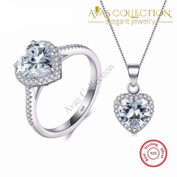 Beautiful Heart Ring & Necklace Jewelry Sets