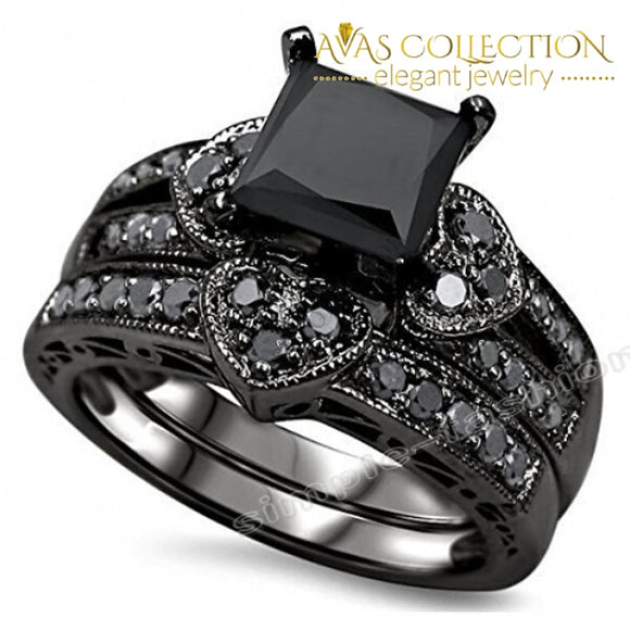 10Kt Black Gold Filled Women Engagement Wedding Set Rings