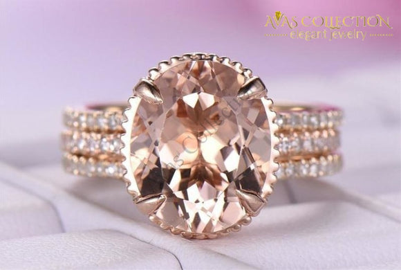 2-In-1 Ring Set Rose Gold Filled Oval Cut 3Ct Engagement Rings