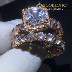 Luxury 14K Rose Gold Filled Wedding Ring Set Engagement Rings
