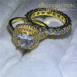Classy 3 Ct Yellow Gold Filled  Wedding Ring Set - Avas Collection