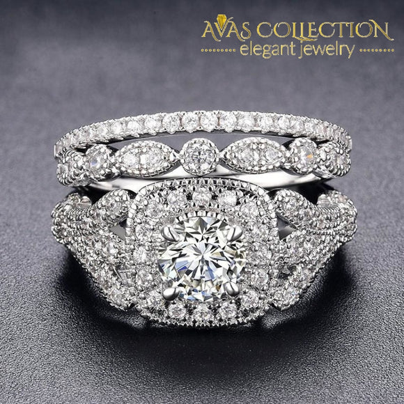 3-In-1 Flower Wedding Ring Engagement Rings
