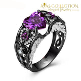 5 Colors Angel Wing Ring Black Gold Filled / Purple Wedding Bands