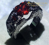 5 Colors Angel Wing Ring Black Gold Filled Wedding Bands