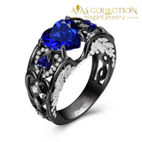 5 Colors Angel Wing Ring Black Gold Filled / Blue Wedding Bands