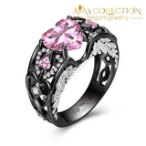 5 Colors Angel Wing Ring Black Gold Filled / Pink Wedding Bands