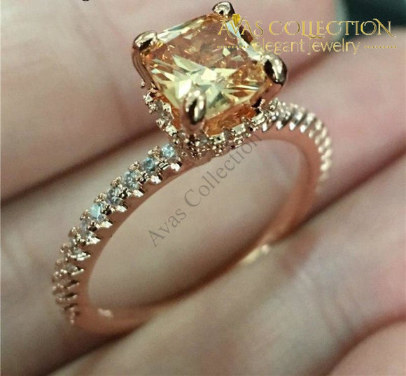 Elegant 10Mm Rose Gold Filled Engagement Ring -Kyra0416 Rings