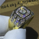 Male Hip Hop Ring 14K Yellow Gold Filled Engagement Rings
