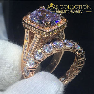 Cushion Cut 8ct Rose Gold Filled Wedding Set - Avas Collection