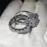 Lovers Wedding Ring Set Cushion Cut 8Ct Engagement Rings