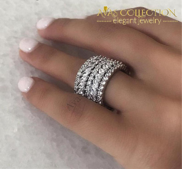 Luxury Wide Flower Design Ring White Gold Filled Engagement Rings